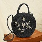 Romwe Leaf Embroidery Round Satchel Bag