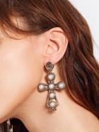 Romwe Faux Pearl Cross Design Drop Earrings