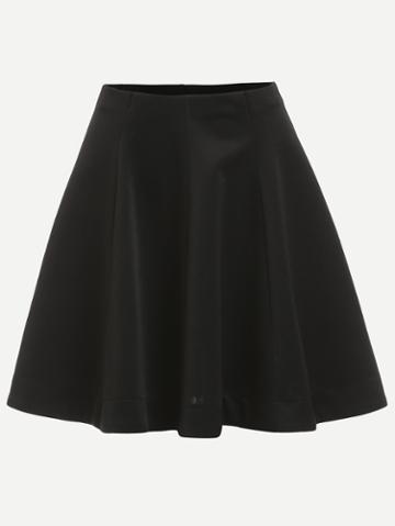 Romwe Plain Black Flare Skirt