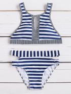 Romwe Striped Print Front Keyhole Bikini Set