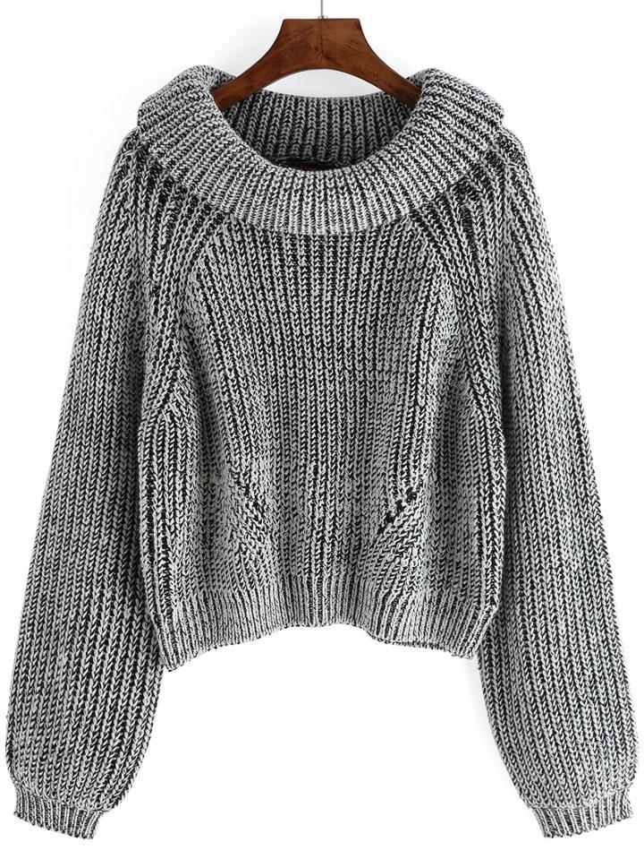 Romwe Cowl Neck Lantern Sleeve Sweater