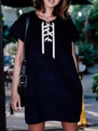Romwe Short Sleeve Lace Up Tshirt Dress