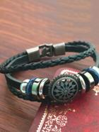 Romwe Hollow Detail Woven Layered Bracelet