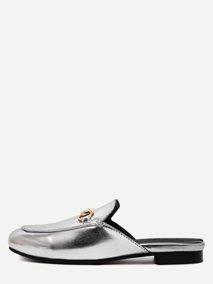 Romwe Silver Faux Leather Flat Loafer Slippers