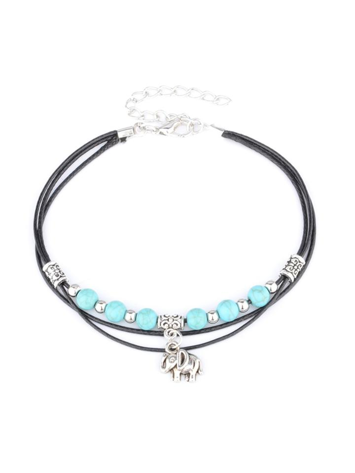 Romwe Turquoise Beaded Layered Anklet