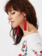 Romwe Red Tassel Earrings