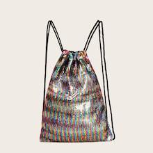 Romwe Sequins Decor Backpack With Drawstring