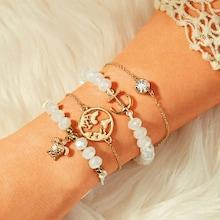 Romwe Anchor & Tortoise Charm Bracelet 4pcs