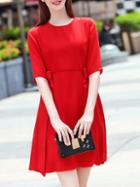 Romwe Red Crew Neck Bowknot A-line Dress