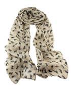 Romwe Latest Design Apricot Chiffon Knitted Leopard Printed Fashionable Scarf