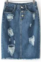 Romwe Blue Pockets Ripped Fringe Denim Skirt