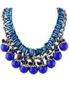Romwe Blue Silver Chain Necklace