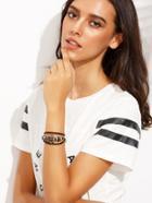 Romwe Black Leather Braided Anchor Bracelet