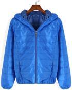 Romwe Hooded Zipper Padded Jacket