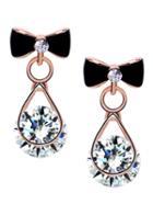 Romwe Black Bow Diamond Stud Earrings