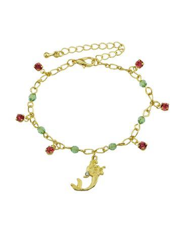 Romwe Rhinestone Mermaid Charm Bracelets & Bangles Women