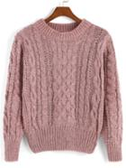 Romwe Cable Knit Pink Sweater