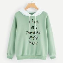 Romwe Letter Print Contrast Hooded Sweatshirt