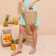 Romwe Shell Embellished Woven Satchels Bag