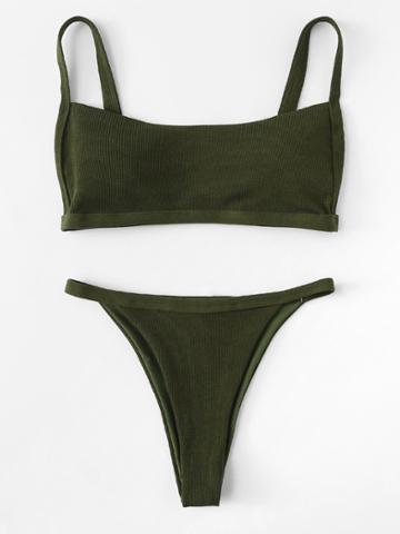 Romwe Rib Cami Bikini Set