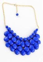 Romwe Charming Style Shine Blue Beads Necklace