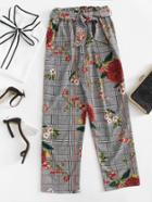 Romwe Wales Check Florals Belted Pants