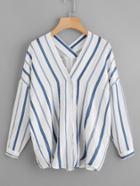 Romwe V Neckline Drop Shoulder Striped Shirt