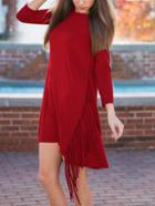 Romwe Long Sleeve Fringe Asymmetrical Red Tshirt Dress
