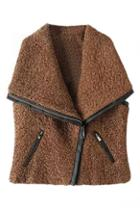 Romwe Lapel Pu Zipped Vest