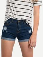 Romwe Blue Ripped Cuffed Denim Shorts