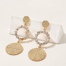 Romwe Rhinestone Circle & Disc Drop Earrings 1pair