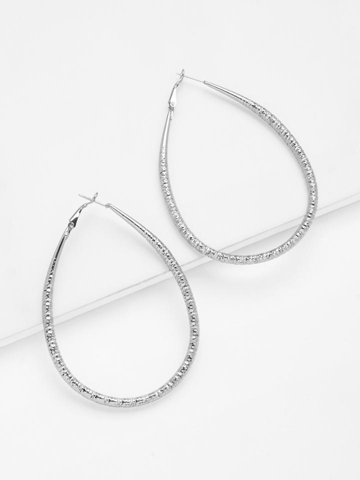 Romwe Hoop Drop Earrings