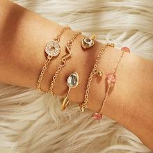 Romwe Stone & Round Detail Bracelet Set 5pcs