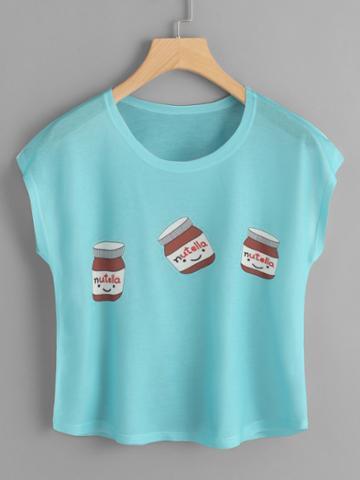 Romwe Chocolate Sauce Print Tee