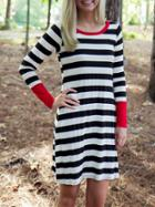 Romwe White Striped Contrast Cuff Tshirt Dress