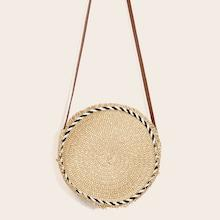 Romwe Raw Edge Round Crossbody Bag