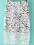 Romwe Lace Overlay White Skirt