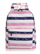 Romwe Contrast Striped Space Print Backpack
