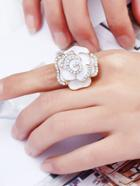 Romwe Flower Design Rhinestone Ring