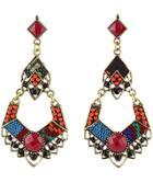 Romwe Red Bead Gold Earrings