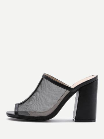 Romwe Peep Toe Block Heeled Mules
