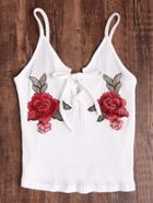 Romwe Rose Embroidered Patch Lace Up Ribbed Cami Top
