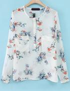 Romwe Floral Pockets Sheer Blouse