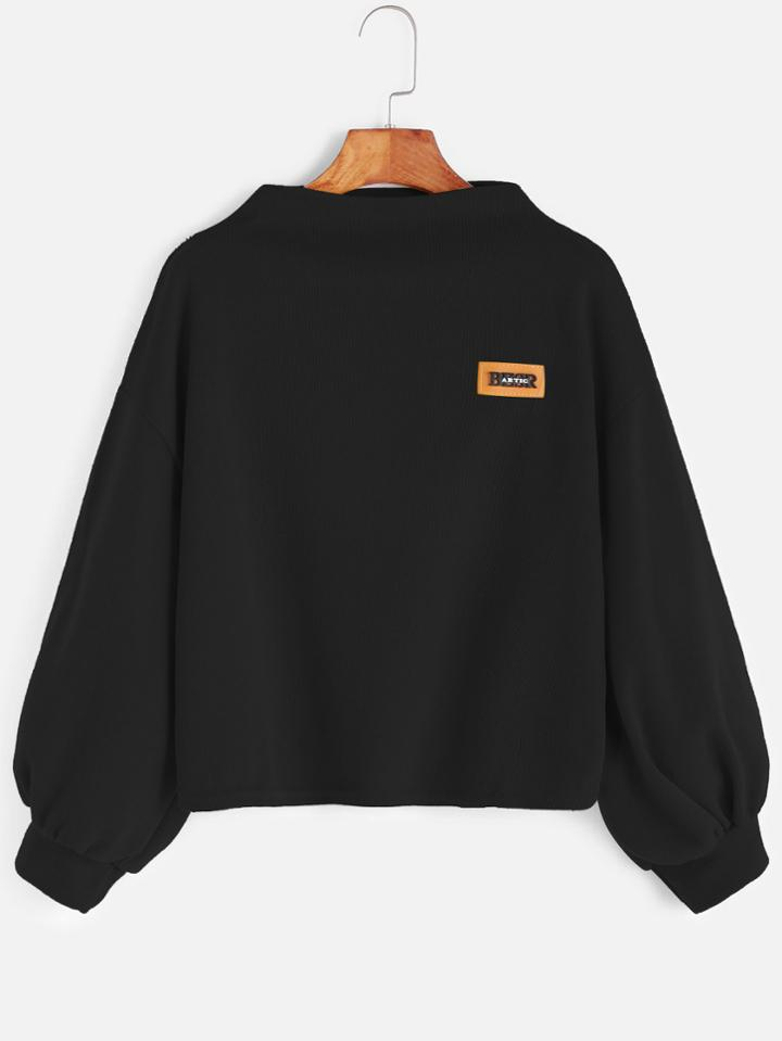 Romwe Black Funnel Neck Drop Shoulder Lantern Sleeve Patch Sweatshirt