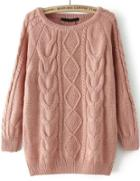 Romwe Cable Knit Loose Sweater