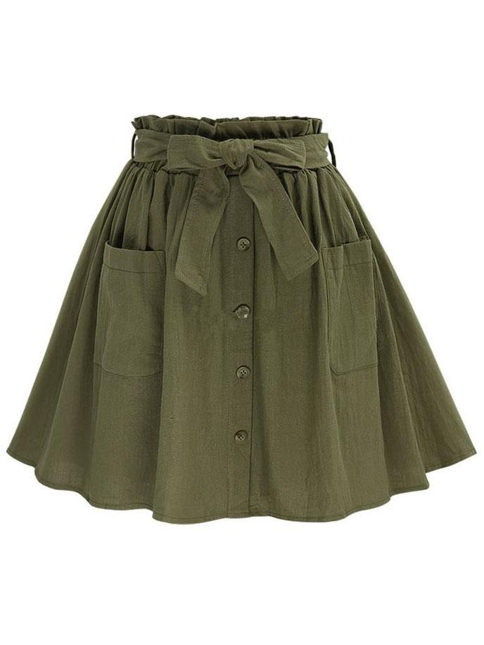 Romwe Olive Green Self Tie Button Front Circle Skirt