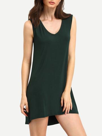 Romwe Green Minis Sleeveless Vest Casual Dress