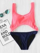 Romwe Two Tone Ring Detail Cutout Swimsuit