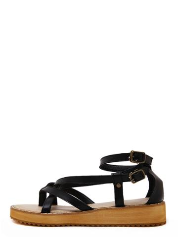 Romwe Black Crisscross Buckle Flatform Flip Wedges