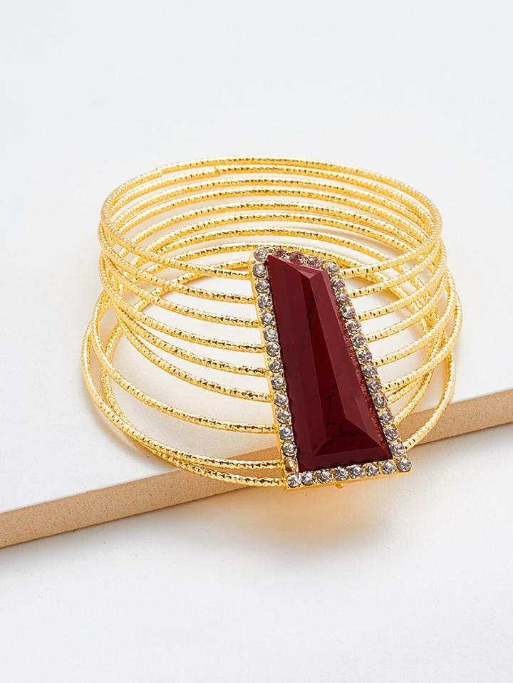 Romwe Gemstone Detail Layered Bangle